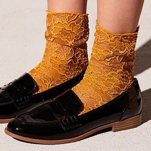 NWT Free People Bella Lace Crew Sock Marigold OS